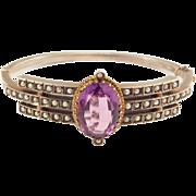 Victorian Austrian Amethyst & Seed Pearls Silver Bangle Bracelet