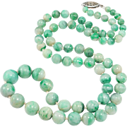 Antique Natural Jade Graduated Beads Necklace 18 Inches