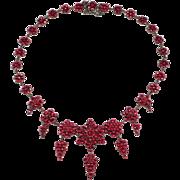 Exceptional Victorian Rose Cut Garnets Bohemian Drop Necklace 1880's