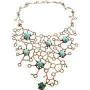 Incredible Bronze Sculptural Modernist Turquoise Collar Necklace