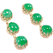 Antique 14K Jadeite Jade Earrings Drops Apple Green