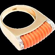 Retro 14K Carved Coral & Diamonds Ring European