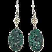 Art Deco Carved Spinach Jade Drop Earrings