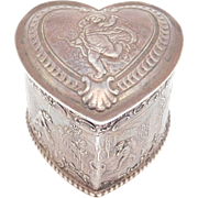 English Sterling 1894 Repousse Large Heart Shaped Cupid Box