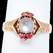 Victorian 14K Moonstone & Garnets Ring