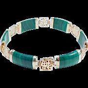 14K Estate Chinese Malachite Bracelet 585 Pretty