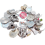 Heavy Sterling Vintage Charms Bracelet 47 Charms