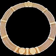 Unique Ethnic Silver Mesh Vermeil Multi Chain Collar Necklace