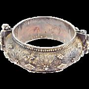 Older Heavy Filigree Ethnic Silver Bangle Bracelet