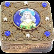 French Jeweled Enamel Portrait Filigree Box