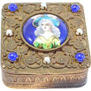 French Jeweled Enamel Portrait Filigree Box