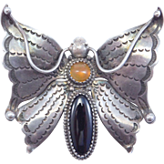 Ornate Hand Stamped Indian Silver Butterfly Brooch Old