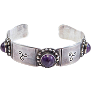 Mexican Silver And Amethyst 980 Taxco Cuff Bracelet