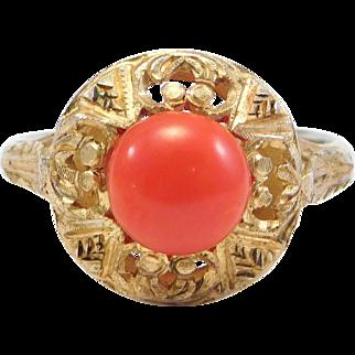 Italian Silver Filigree Red Sardinian Coral Ring