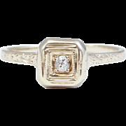 Antique Art Deco Filigree 14K Diamond Ring