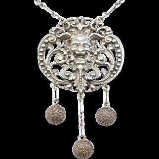 Antique Italian Bacchus Devil Like Face Necklace Silver