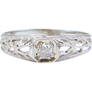 Antique 10K Diamond Filigree Baby Ring Darling