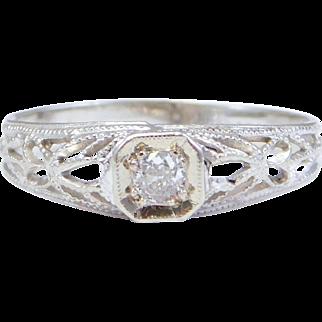 Antique 10K Diamond Filigree Baby Ring Darling