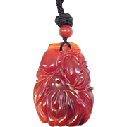 Old Chinese Carved Carnelian Agate Pendant