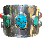 Heavy Sterling Turquoise & Coral Indian Cuff Bracelet