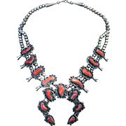 Amazing Navajo Sterling Silver And Coral Squash Blossom Necklace
