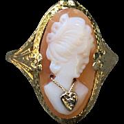 Edwardian Filigree 10K Cameo Habille Ring Beautiful