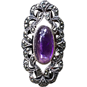 Pretty Estate Cabochon Amethyst And Marcasite Ring
