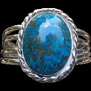 Amazing Morenci Turquoise Silver Cuff Bracelet