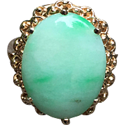 Pretty Estate Natural Jade Cabochon 10K Gold Ring