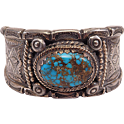 Exceptional Signed Navajo Silver & Turquoise Stamped Cuff Weighs Over 7 Troy Ounces