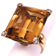 Incredible 45 Carat Citrine And Diamonds Ring Retro Estate 14K