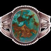 Navajo Silver Royston Turquoise Harvey Era Cuff Bracelet