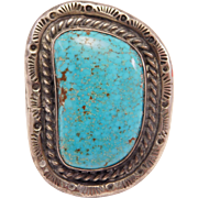 Large Ornate Navajo Silver & Turquoise Ring