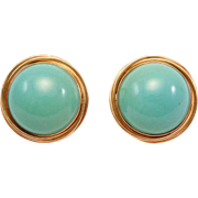 Estate Fine Persian Turquoise 14K Estate Earrings Omega Backs