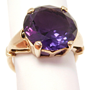 Estate Synthetic Alexandrite 10K Rose Gold Ring Pretty