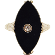 Art Deco 14K Filigree Diamond And Onyx Ring