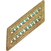 Ornate Theodor Fahrner Turquoise And Silver Deco Brooch