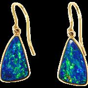 18K Lightning Ridge Black Opal Earrings Custom Estate Pieces Gorgeous