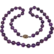Natural 10mm Amethyst Knotted Beads Chinese Vintage