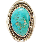Heavy Old Navajo Turquoise Stamped Silver Ring