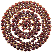 Large Rose Cut Garnets Vermeil Cluster Brooch