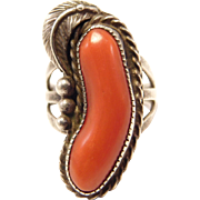Signed Red Coral Silver Navajo Ring