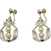 Elegant Vintage Mikimoto Cultured Pearl & Silver Earrings