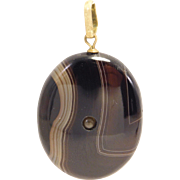 Rare Victorian Banded Agate Hidden Stanhope Pendant