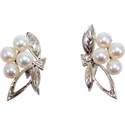Elegant Mikimoto Vintage Cultured Pearl Silver Earrings