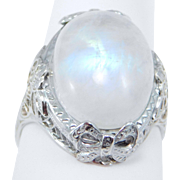14K Edwardian Filigree & Rainbow Moonstone Ring