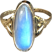 14K Art Nouveau Moonstone Ring Beautiful