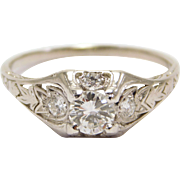Art Deco Platinum And Diamond ½ Carat Wedding Ring