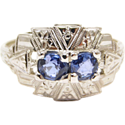 14K White Gold Art Deco Natural Sapphires Ring Engraved