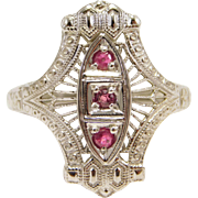 Beautiful 14K Filigree & Natural Rubies Art Deco Ring